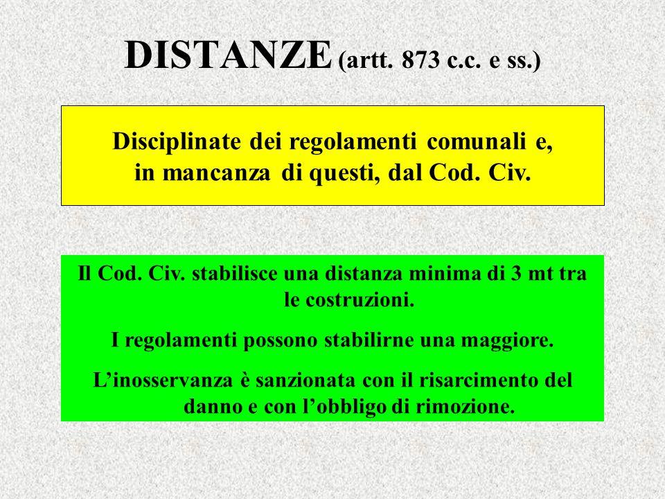 DISTANZE (artt. 873 c.c. e ss.) Disciplinate dei regolamenti comunali e, in mancanza di questi, dal Cod. Civ. Il Cod. Civ. stabilisce una distanza min