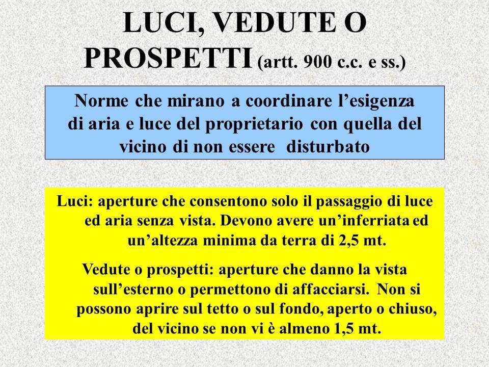 LUCI, VEDUTE O PROSPETTI (artt. 900 c.c. e ss.) Norme che mirano a coordinare lesigenza di aria e luce del proprietario con quella del vicino di non e