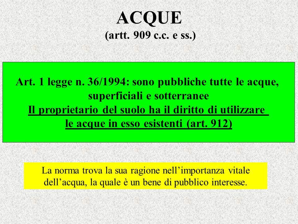 ACQUE (artt. 909 c.c. e ss.) Art. 1 legge n. 36/1994: sono pubbliche tutte le acque, superficiali e sotterranee Il proprietario del suolo ha il diritt