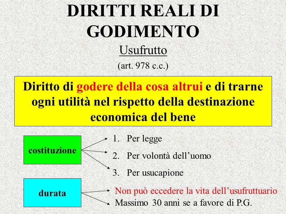 DIRITTI REALI DI GODIMENTO Usufrutto (art. 978 c.c.) Diritto di godere della cosa altrui e di trarne ogni utilità nel rispetto della destinazione econ