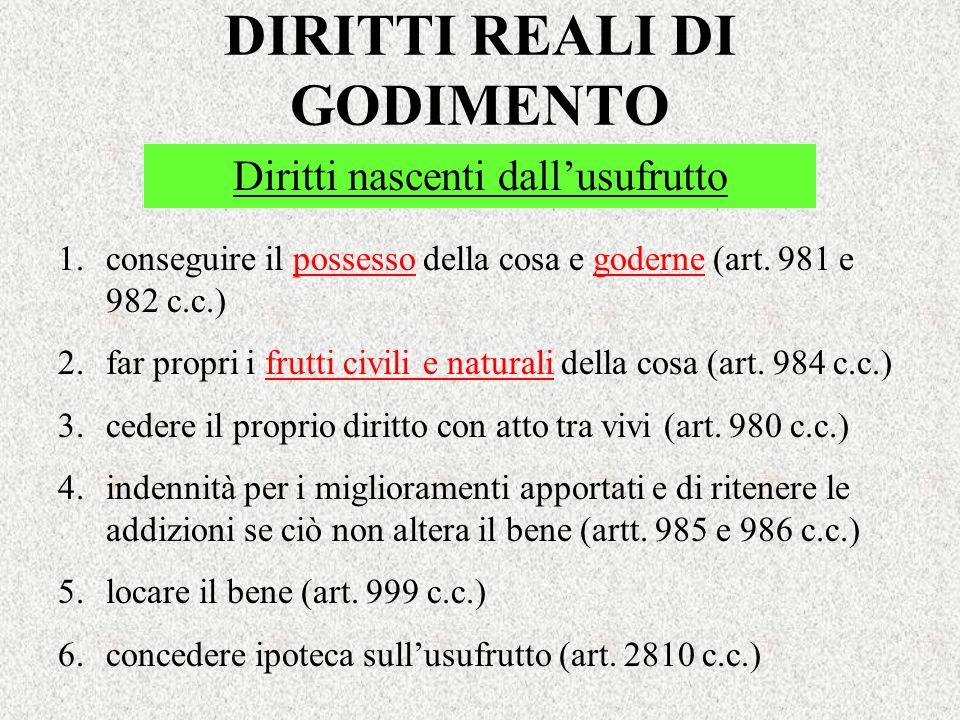 DIRITTI REALI DI GODIMENTO Diritti nascenti dallusufrutto 1.conseguire il possesso della cosa e goderne (art. 981 e 982 c.c.) 2.far propri i frutti ci