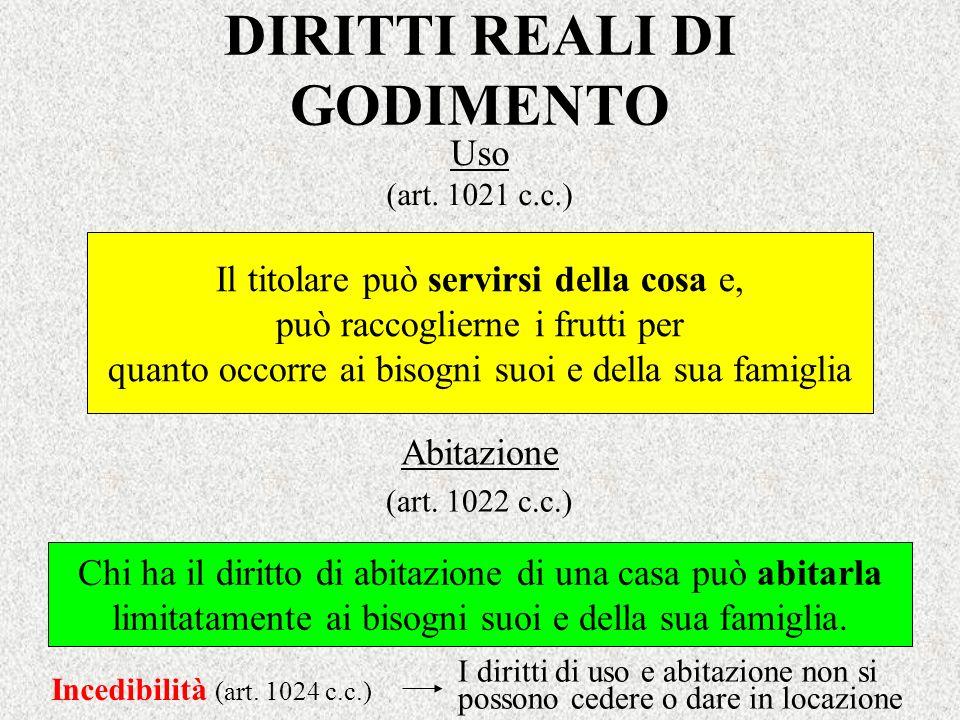 DIRITTI REALI DI GODIMENTO Uso (art. 1021 c.c.) Il titolare può servirsi della cosa e, può raccoglierne i frutti per quanto occorre ai bisogni suoi e