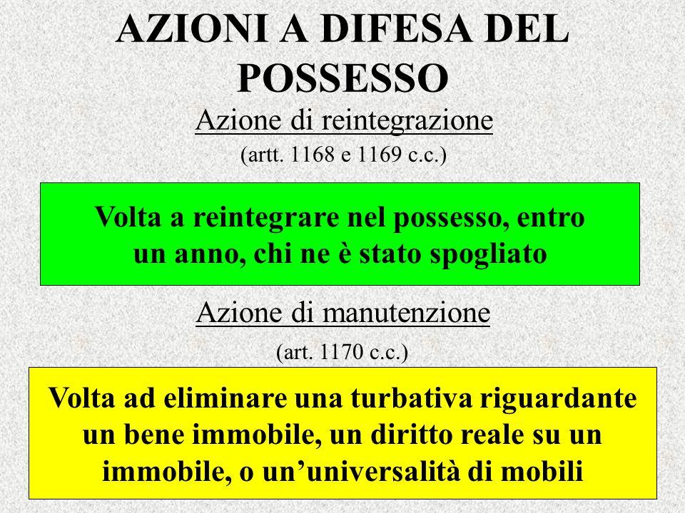 AZIONI A DIFESA DEL POSSESSO Azione di reintegrazione (artt. 1168 e 1169 c.c.) Volta a reintegrare nel possesso, entro un anno, chi ne è stato spoglia