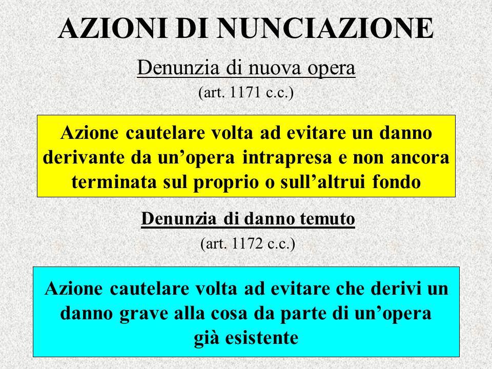 AZIONI DI NUNCIAZIONE Denunzia di nuova opera (art. 1171 c.c.) Azione cautelare volta ad evitare un danno derivante da unopera intrapresa e non ancora