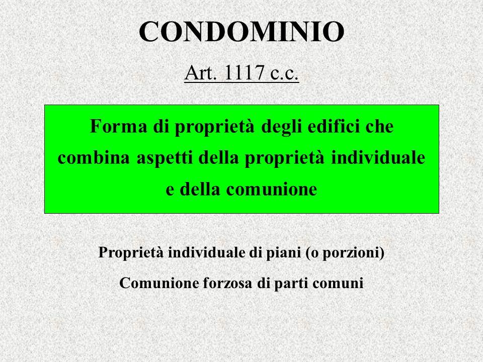 CONDOMINIO Art. 1117 c.c. Forma di proprietà degli edifici che combina aspetti della proprietà individuale e della comunione Proprietà individuale di