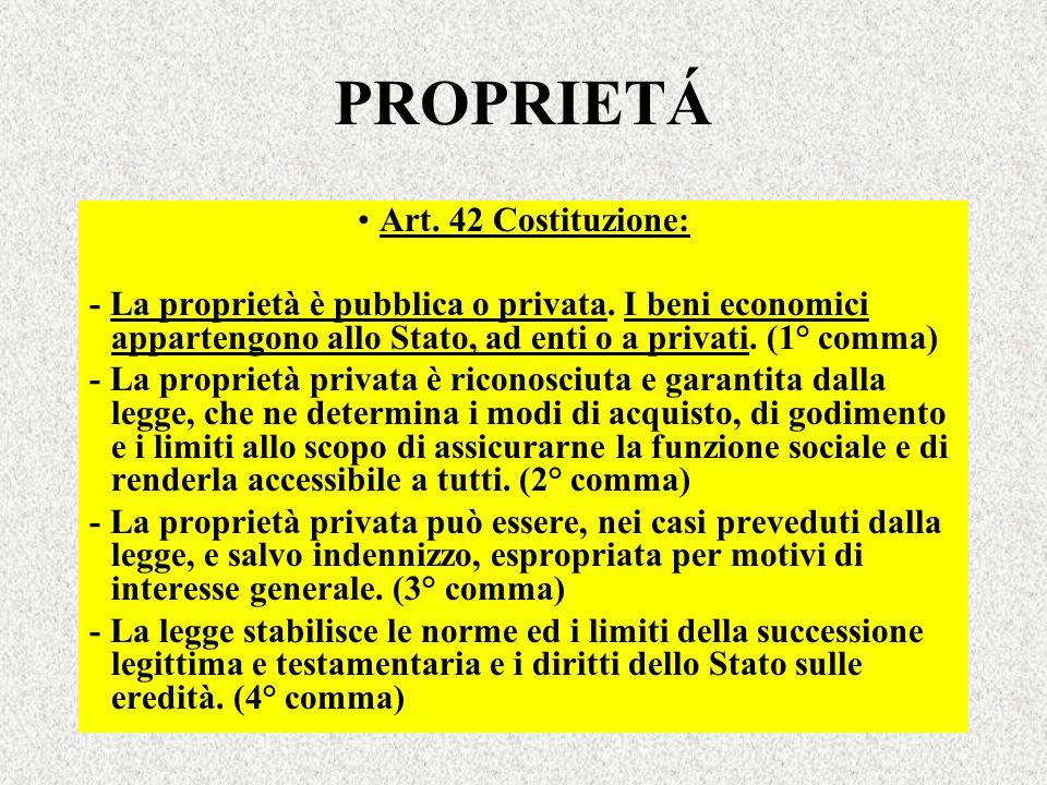 PROPRIETÁ Art. 42 Costituzione: - La proprietà è pubblica o privata. I beni economici appartengono allo Stato, ad enti o a privati. (1° comma) - La pr