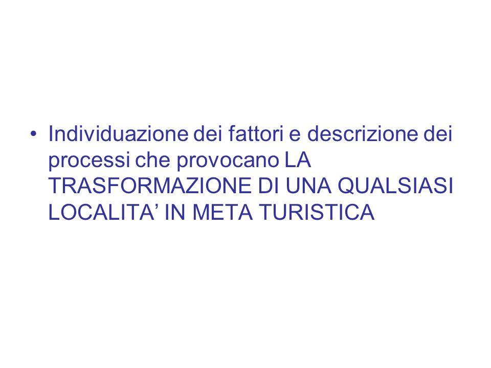 Individuazione dei fattori e descrizione dei processi che provocano LA TRASFORMAZIONE DI UNA QUALSIASI LOCALITA IN META TURISTICA