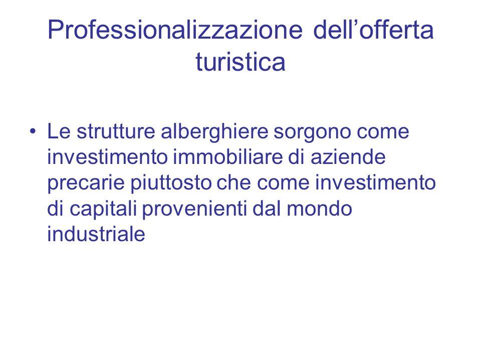 Professionalizzazione dellofferta turistica Le strutture alberghiere sorgono come investimento immobiliare di aziende precarie piuttosto che come inve