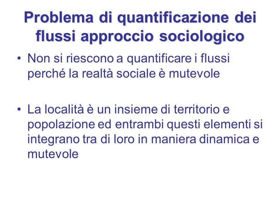 Problema di quantificazione dei flussi approccio sociologico Non si riescono a quantificare i flussi perché la realtà sociale è mutevole La località è