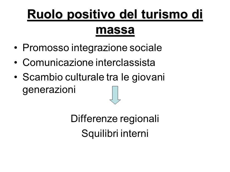 Ruolo positivo del turismo di massa Promosso integrazione sociale Comunicazione interclassista Scambio culturale tra le giovani generazioni Differenze