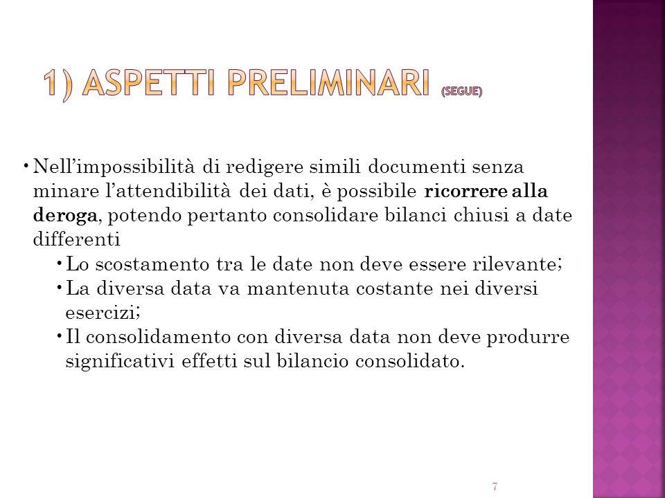 7 Nellimpossibilità di redigere simili documenti senza minare lattendibilità dei dati, è possibile ricorrere alla deroga, potendo pertanto consolidare