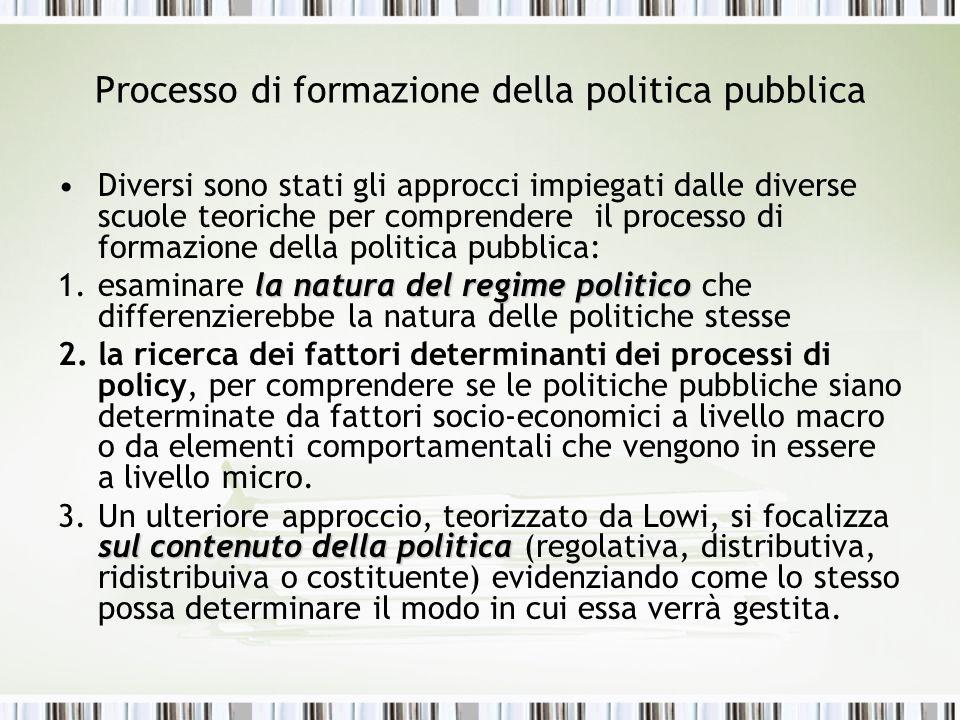Processo di formazione della politica pubblica Diversi sono stati gli approcci impiegati dalle diverse scuole teoriche per comprendere il processo di