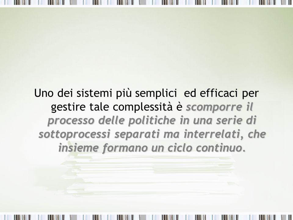 scomporre il processo delle politiche in una serie di sottoprocessi separati ma interrelati, che insieme formano un ciclo continuo. Uno dei sistemi pi