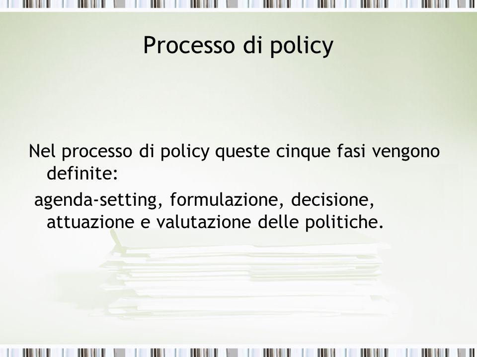 Processo di policy Nel processo di policy queste cinque fasi vengono definite: agenda-setting, formulazione, decisione, attuazione e valutazione delle
