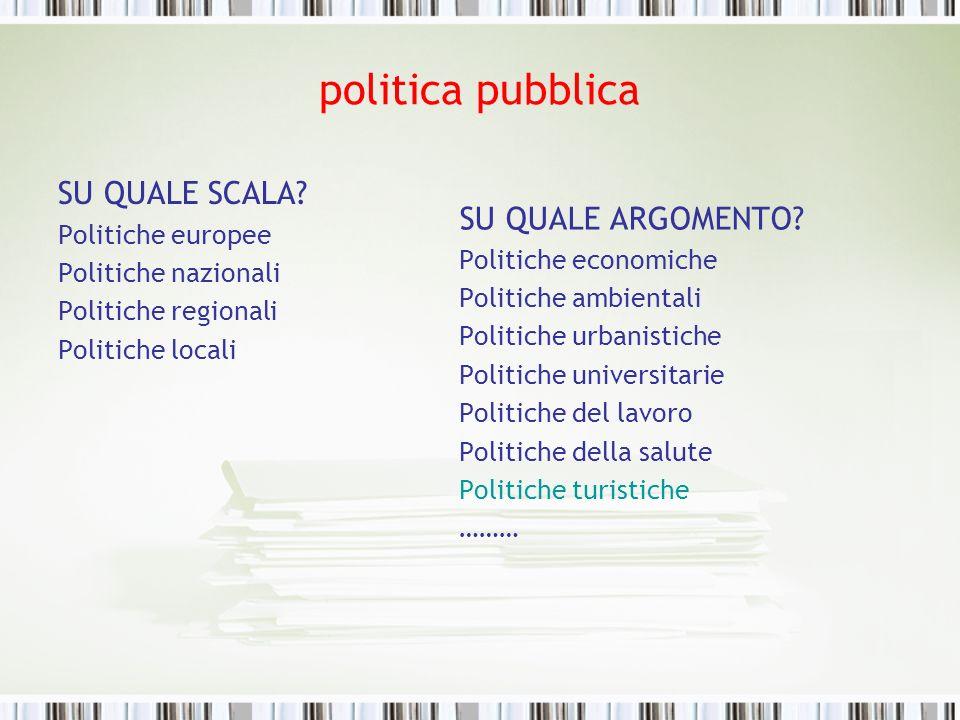 politica pubblica SU QUALE SCALA? Politiche europee Politiche nazionali Politiche regionali Politiche locali SU QUALE ARGOMENTO? Politiche economiche