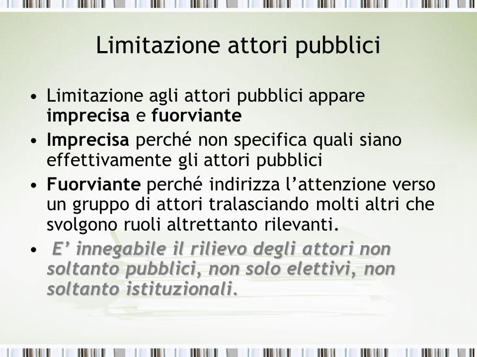 Limitazione attori pubblici Limitazione agli attori pubblici appare imprecisa e fuorviante Imprecisa perché non specifica quali siano effettivamente g