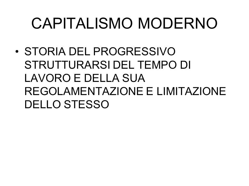 CAPITALISMO MODERNO STORIA DEL PROGRESSIVO STRUTTURARSI DEL TEMPO DI LAVORO E DELLA SUA REGOLAMENTAZIONE E LIMITAZIONE DELLO STESSO