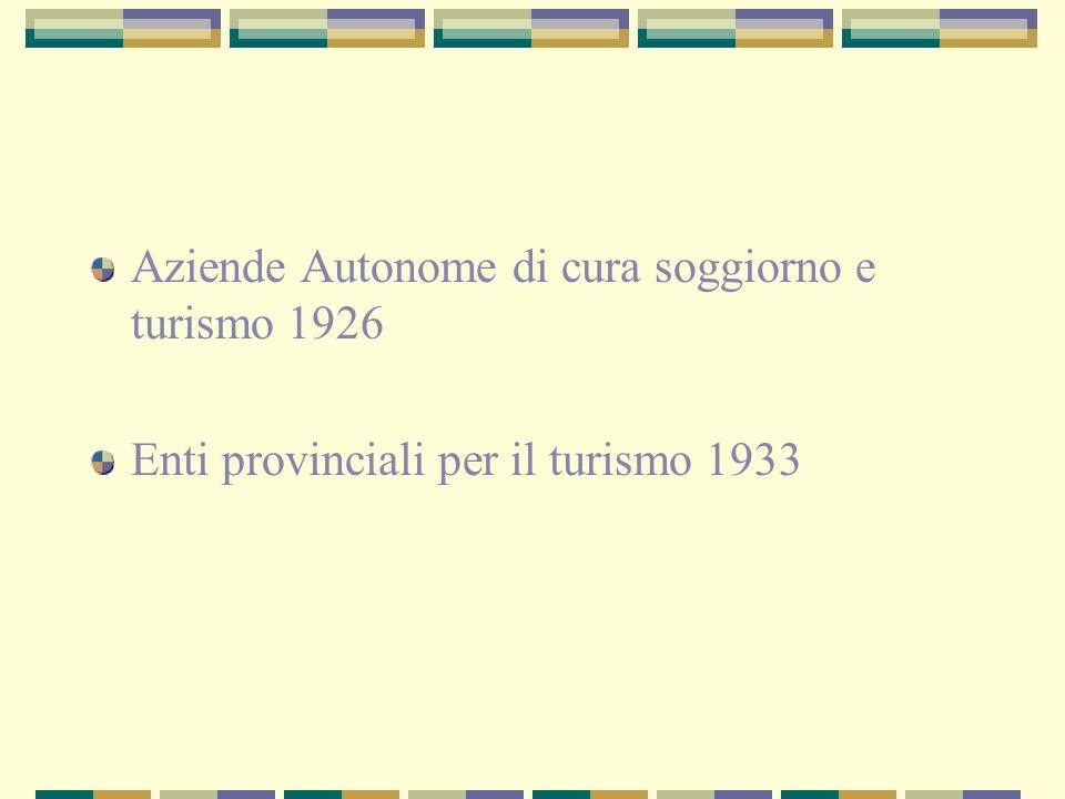 Aziende Autonome di cura soggiorno e turismo 1926 Enti provinciali per il turismo 1933