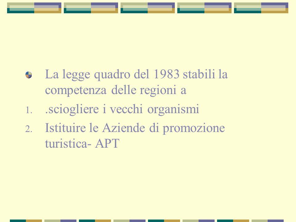 La legge quadro del 1983 stabili la competenza delle regioni a 1..sciogliere i vecchi organismi 2.