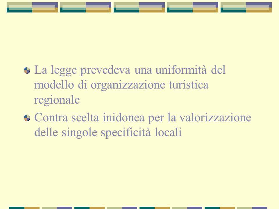 La legge prevedeva una uniformità del modello di organizzazione turistica regionale Contra scelta inidonea per la valorizzazione delle singole specificità locali