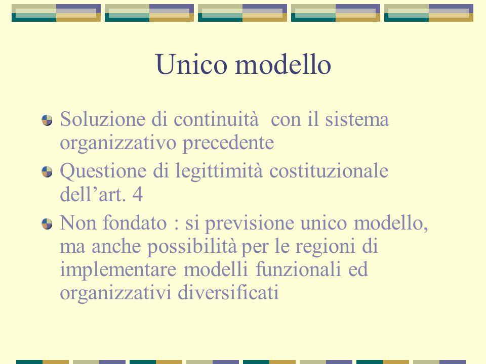 Unico modello Soluzione di continuità con il sistema organizzativo precedente Questione di legittimità costituzionale dellart.
