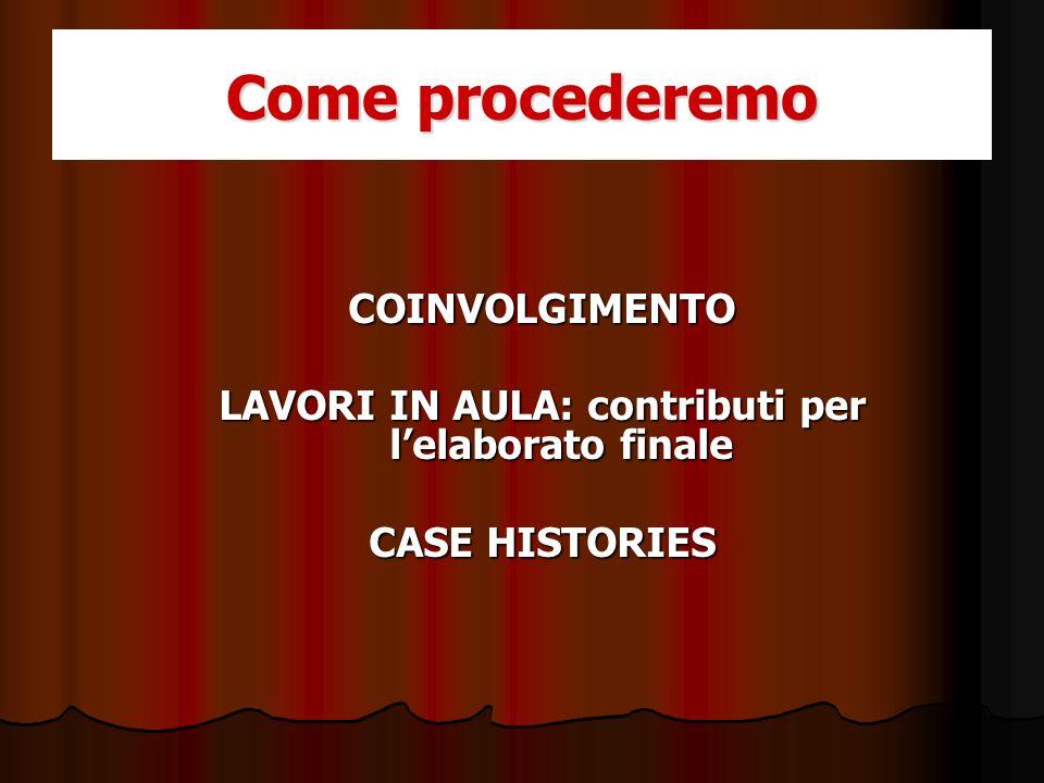 COINVOLGIMENTO LAVORI IN AULA: contributi per lelaborato finale CASE HISTORIES Come procederemo