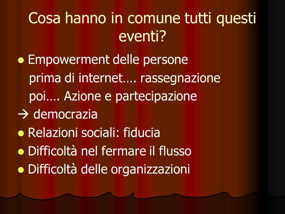 Cosa hanno in comune tutti questi eventi. Empowerment delle persone prima di internet….
