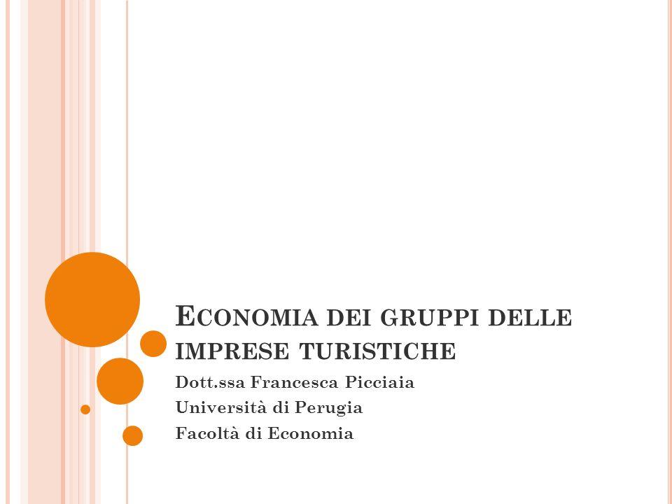 E CONOMIA DEI GRUPPI DELLE IMPRESE TURISTICHE Dott.ssa Francesca Picciaia Università di Perugia Facoltà di Economia