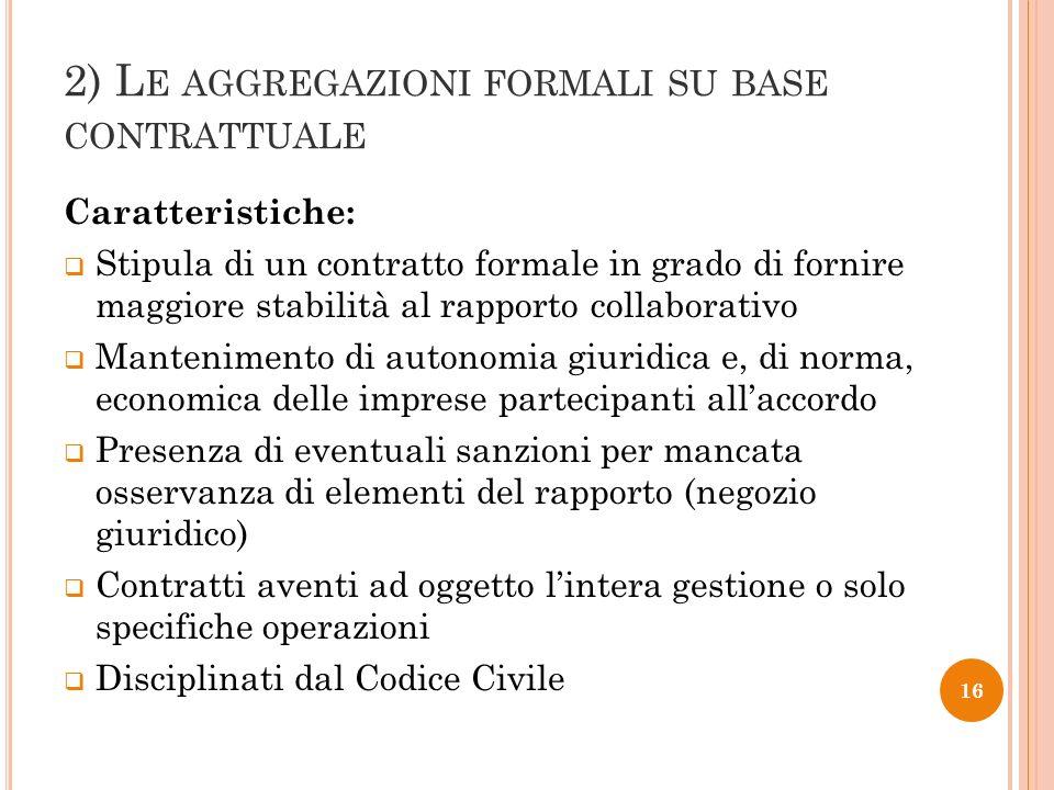 2) L E AGGREGAZIONI FORMALI SU BASE CONTRATTUALE Caratteristiche: Stipula di un contratto formale in grado di fornire maggiore stabilità al rapporto c