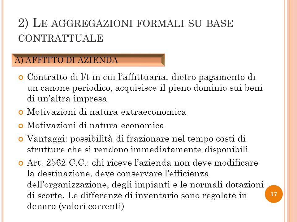 2) L E AGGREGAZIONI FORMALI SU BASE CONTRATTUALE Contratto di l/t in cui laffittuaria, dietro pagamento di un canone periodico, acquisisce il pieno do
