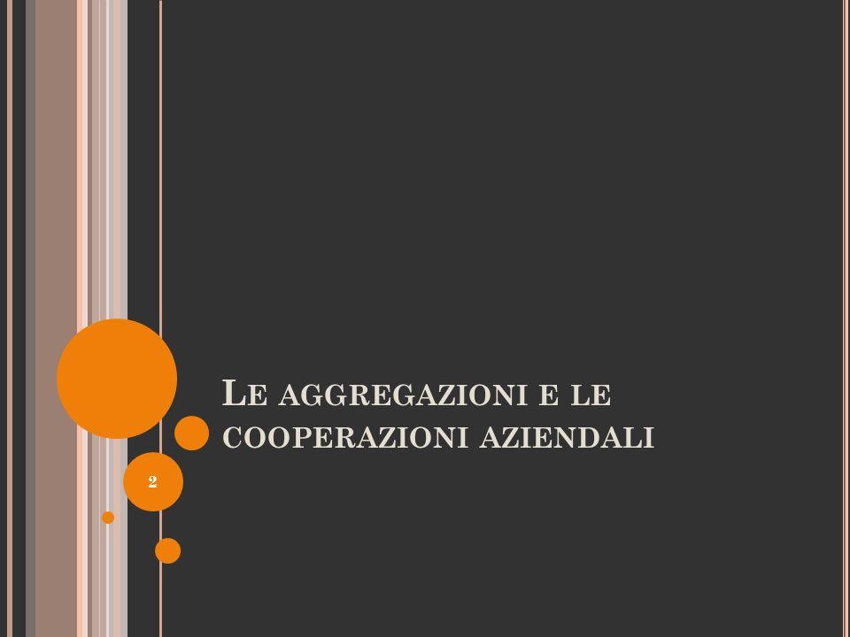 1) L E AGGREGAZIONI INFORMALI ( SEGUE ) C) DISTRETTI 13 N.B.: nei distretti industriali non operano solo imprese che svolgono attività complementari ma anche attività concorrenti.