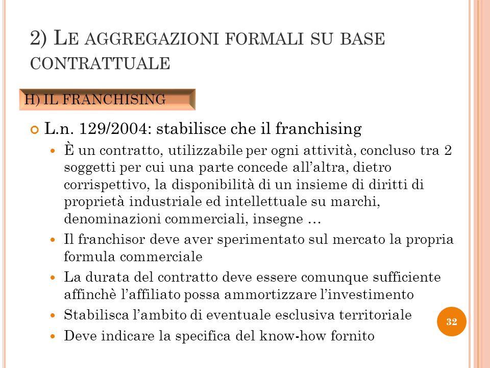 L.n. 129/2004: stabilisce che il franchising È un contratto, utilizzabile per ogni attività, concluso tra 2 soggetti per cui una parte concede allaltr