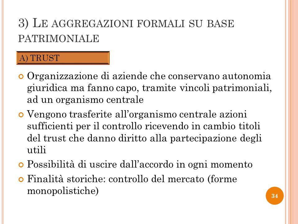 3) L E AGGREGAZIONI FORMALI SU BASE PATRIMONIALE Organizzazione di aziende che conservano autonomia giuridica ma fanno capo, tramite vincoli patrimoni