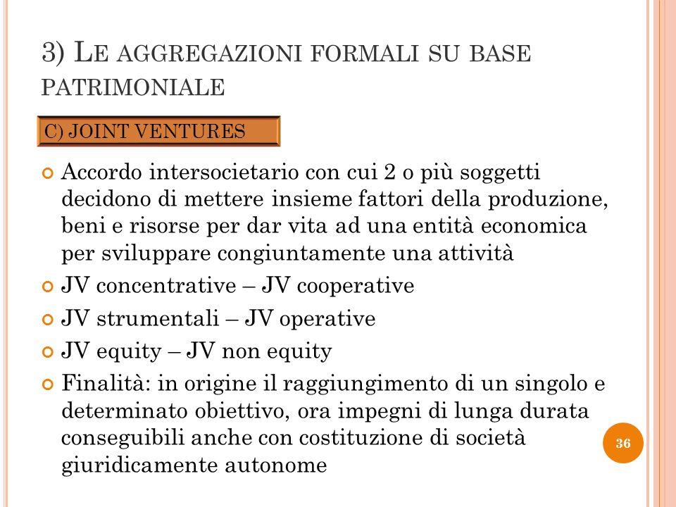 3) L E AGGREGAZIONI FORMALI SU BASE PATRIMONIALE Accordo intersocietario con cui 2 o più soggetti decidono di mettere insieme fattori della produzione