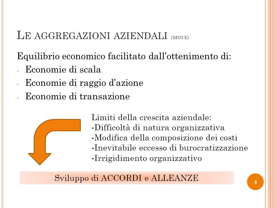 L E AGGREGAZIONI AZIENDALI ( SEGUE ) Equilibrio economico facilitato dallottenimento di: - Economie di scala - Economie di raggio dazione - Economie d