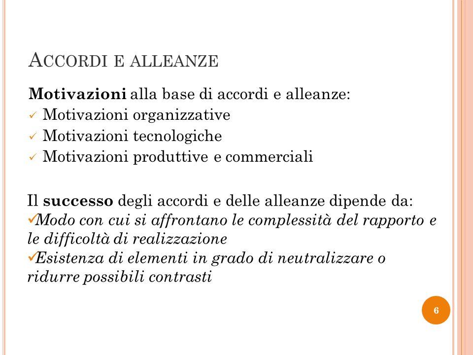 A CCORDI E ALLEANZE Motivazioni alla base di accordi e alleanze: Motivazioni organizzative Motivazioni tecnologiche Motivazioni produttive e commercia