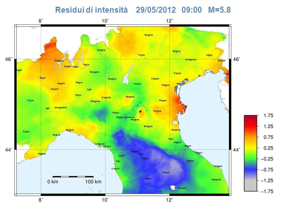 Residui di intensità 29/05/2012 09:00 M=5.8