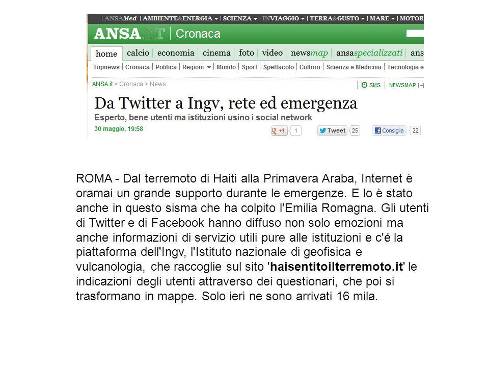 ROMA - Dal terremoto di Haiti alla Primavera Araba, Internet è oramai un grande supporto durante le emergenze.