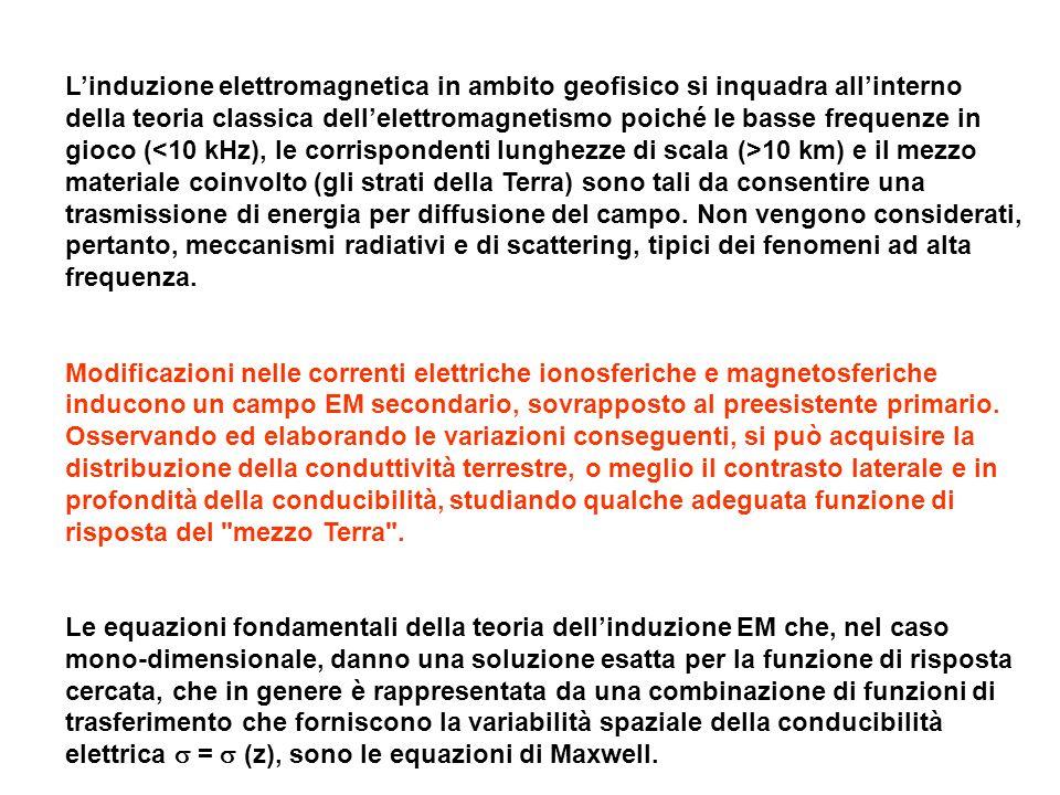 Linduzione elettromagnetica in ambito geofisico si inquadra allinterno della teoria classica dellelettromagnetismo poiché le basse frequenze in gioco