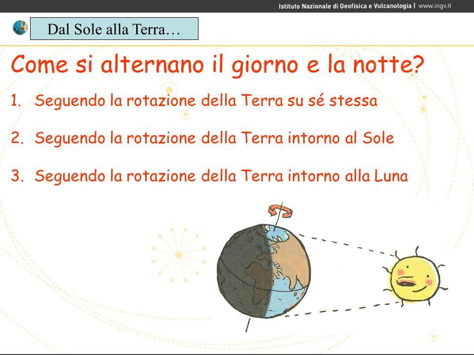 Come si alternano il giorno e la notte? 1.Seguendo la rotazione della Terra su sé stessa 2.Seguendo la rotazione della Terra intorno al Sole 3.Seguend