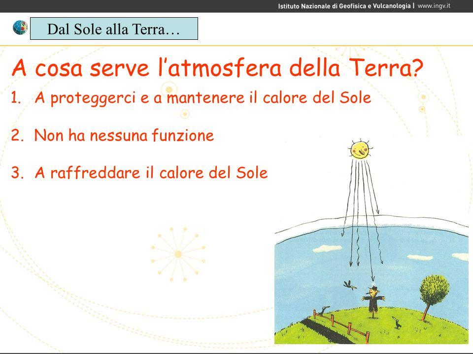 A cosa serve latmosfera della Terra? 1.A proteggerci e a mantenere il calore del Sole 2.Non ha nessuna funzione 3.A raffreddare il calore del Sole Dal