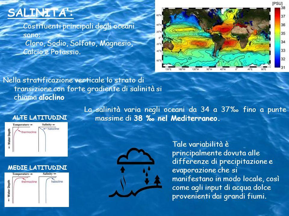 La salinità varia negli oceani da 34 a 37 fino a punte massime di 38 nel Mediterraneo. MEDIE LATITUDINI ALTE LATITUDINI SALINITA: Costituenti principa