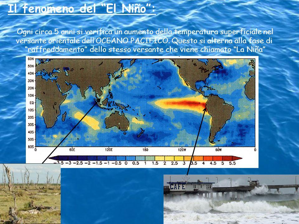 Il fenomeno del El Niño: Ogni circa 5 anni si verifica un aumento della temperatura superficiale nel versante orientale dellOCEANO PACIFICO. Questo si