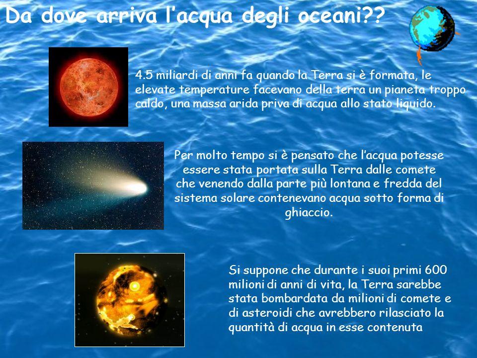 Da dove arriva lacqua degli oceani?? 4.5 miliardi di anni fa quando la Terra si è formata, le elevate temperature facevano della terra un pianeta trop