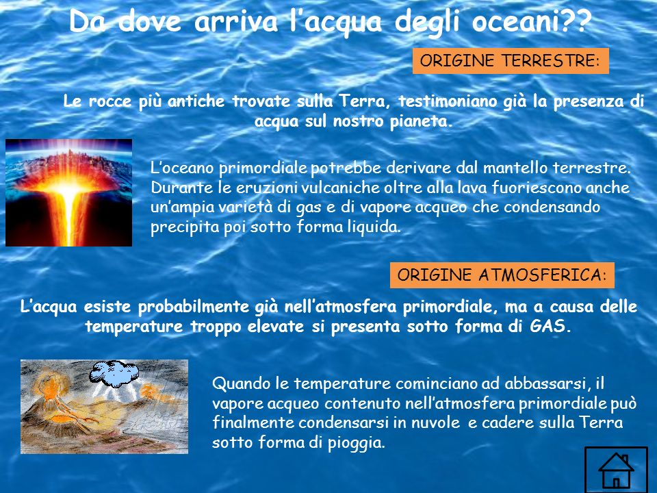 Da dove arriva lacqua degli oceani?? Lacqua esiste probabilmente già nellatmosfera primordiale, ma a causa delle temperature troppo elevate si present