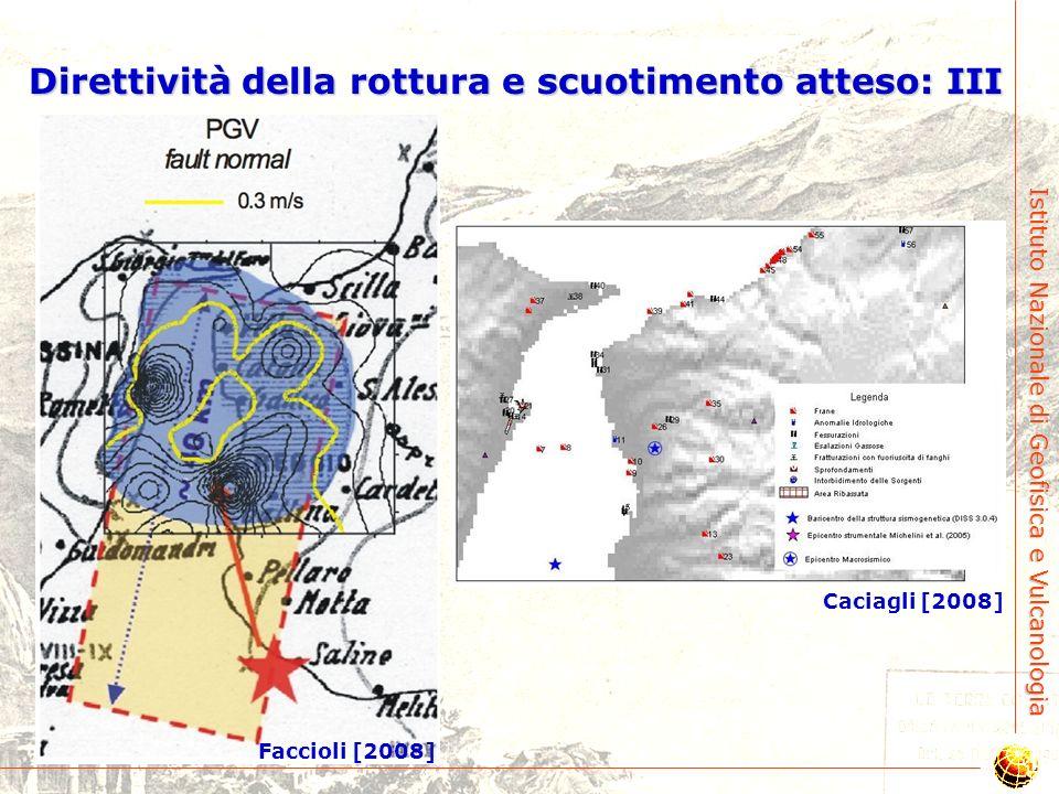 Istituto Nazionale di Geofisica e Vulcanologia Direttività della rottura e scuotimento atteso: II Boschi et al. [1989] Michelini et al. [2004] Pino et