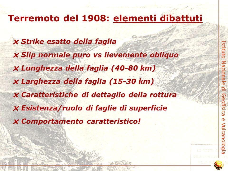 Istituto Nazionale di Geofisica e Vulcanologia Terremoto del 1908: elementi condivisi Faglia responsabile pende verso Est Faglia responsabile pende ve