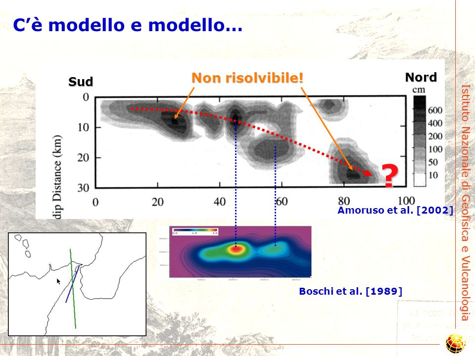 Istituto Nazionale di Geofisica e Vulcanologia Geologia vs Sismologia: conflitto insanabile? Amoruso et al. [2002] Questo modello geofisico è in confl