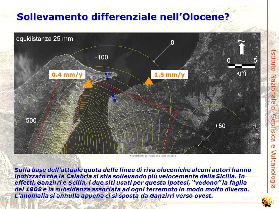 Istituto Nazionale di Geofisica e Vulcanologia Ratei di sollevamento (Olocene/125 Ky) Analisi recenti mostrano che il rateo di sollevamento dei due la