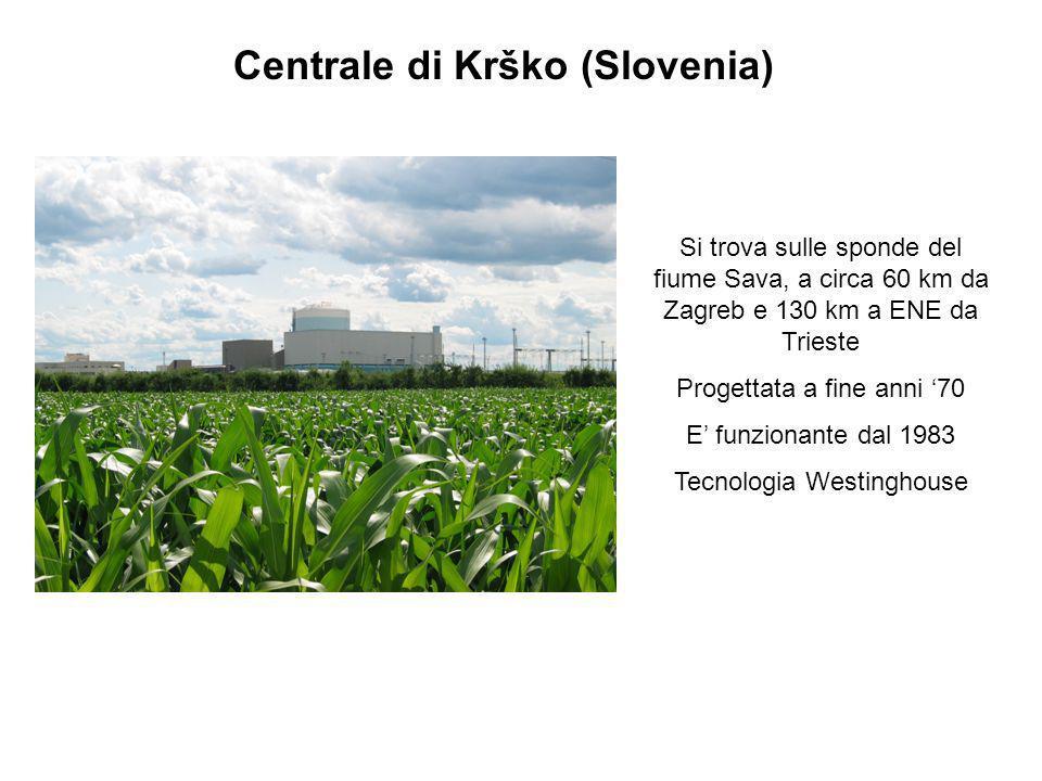 Centrale di Krško (Slovenia) Si trova sulle sponde del fiume Sava, a circa 60 km da Zagreb e 130 km a ENE da Trieste Progettata a fine anni 70 E funzi
